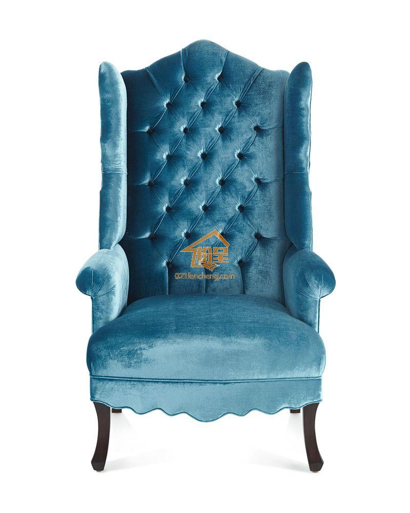 欧式新古典老虎椅 高背绒布布艺单人位沙发