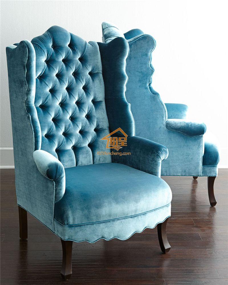 欧式新古典老虎椅 高背绒布布艺单人位沙发 高品质