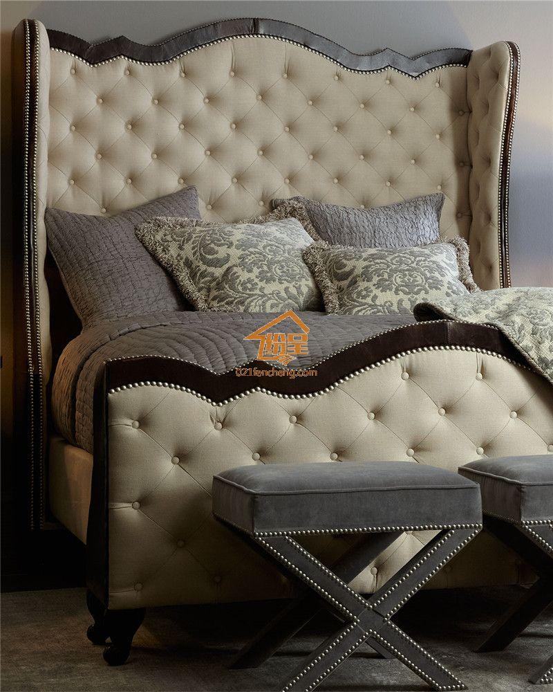 高靠背欧式实木软床 新款高品质实木床定做