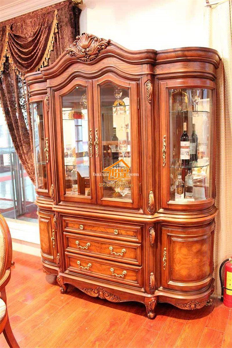 美式实木酒柜 高品质实木雕花酒柜