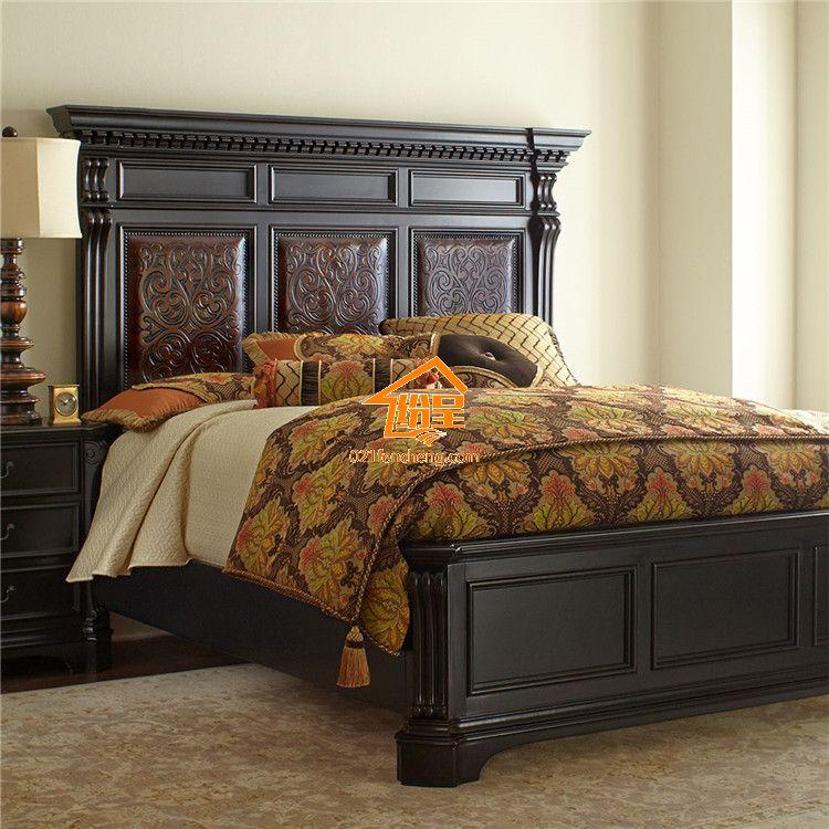 高档美式实木床 高品质实木雕花
