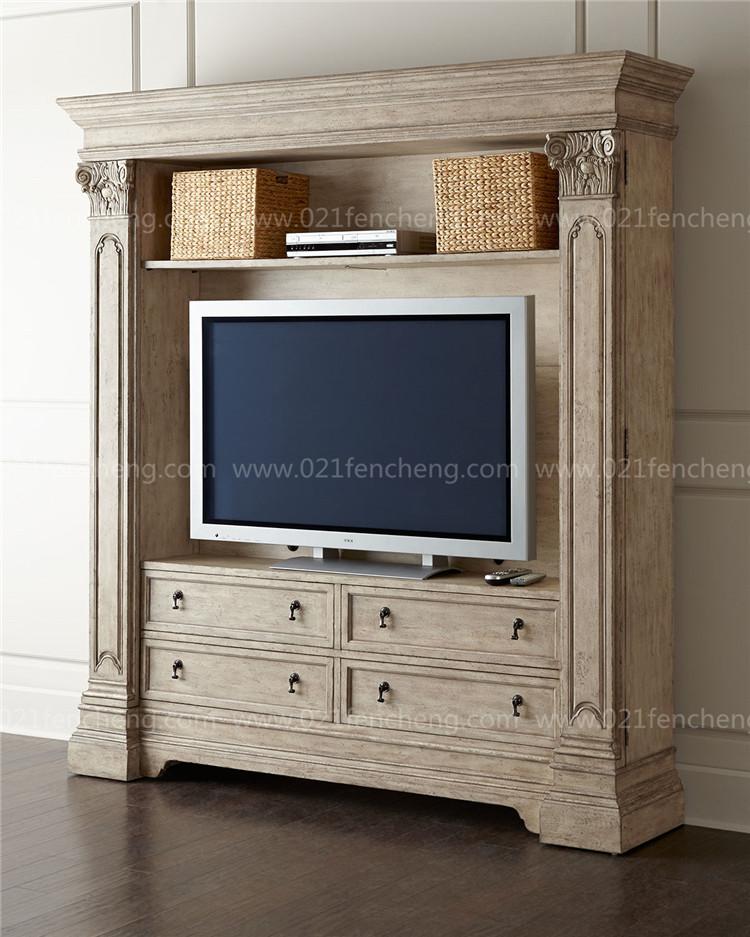 电视柜 美式实木做旧复古电视储物柜