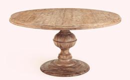 美式餐桌圆形实木做旧定制FCcz0009
